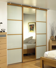 Wardrobe with beech wood frame and white glass doors