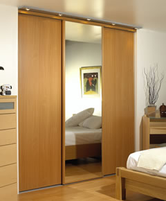 Beech wardrobe with mirror