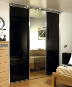 Wardrobe with silver frame and black doors