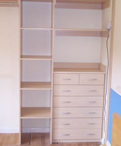 Pearwood interior with built-in drawer unit